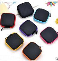 жесткий кабель оптовых-Earphone Storage Box Mini Headphone Cable Hard Box Portable PU Leather Zipper Earbuds SD Card Case 7.5*7.5*3cm