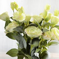 eustoma blume großhandel-Hochzeit 3 stücke Künstliche Blume 3 Köpfe Seide Eustoma Hochzeit Weihnachten Dekorative Neujahr Dekoration Flores