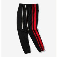 Wholesale leisure harem pants men - casual track pants men multi colored side stripe vintage jogger pants high street fashion sweatpants leisure trousers