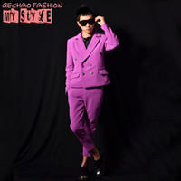 6ec98003a2 Male unique purple visual suit jacket pants costumes singer dancer dress  performance stage show nightclub chothing outdoors fashion slim wea