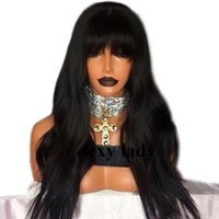 Pelucas sintéticas onduladas naturales largas con flequillo peluca frontal  de encaje brasileño resistente al calor negro   marrón   púrpura   peluca  rubia ... b1d9917b8270