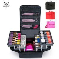 Wholesale makeup case large - Fashion Women Makeup Organizer Large Capacity Multilayer Clapboard Cosmetic Bag Beauty Salon Tattoos Nail Art Tool Bin Case