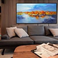 óleo, pintura, mar, azul, paisagem venda por atacado-Decorativa bela paisagem azul mar e céu pintura a óleo sobre tela Handmade arte da parede imagem pintura arte para quarto