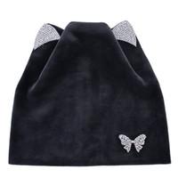 ingrosso cristallo della farfalla del gatto-Donna Beanie Crystal Butterfly Autunno Inverno Berretto a maglia Gatto orecchie Cappellino in velluto Berretto a vento caldo collo Skullies Cappelli moda