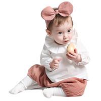 acessórios para cabelo amarelo para bebê venda por atacado-Baby Girl Headwraps Top Nó Amarelo Rosa Headwear Crianças Orelhas Arco Hairband Turbante Crianças Acessórios Para o Cabelo