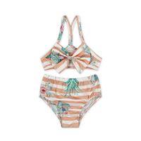 Wholesale swimwear children for girl online - Baby Girl Children Summer Swimwear For Baby Girl Kid Bikini Girls Flower Printed Two Set Bikini
