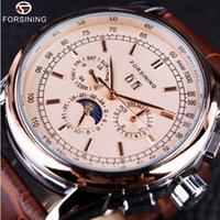Wholesale Shanghai Watches - Forsining Moon Phase Shanghai Movement Rose Gold Case Brown Genuine Leather Strap Mens Watches Top Brand Luxury Auotmatic Watch