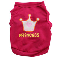 Wholesale extra small pet clothing for sale - Group buy Dog Clothes Lovely Fashion Red Print Princess Crown Small Pet Cat Vest Sleeveless Shirt Puppy Apparel Summer cy gg