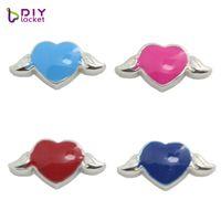 """Wholesale Bracelets Connectors Charm Heart - 10PCS!! 8MM """"Heart"""" Floating charms Mix Color ,Zinc Alloy Fit Floating lockets & Floating locket bracelet LSFC06*10"""