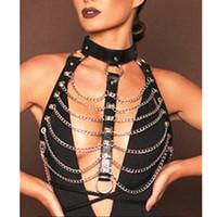 Wholesale punk suspenders - New Unisex Punk Faux Leather Harness Metal Chain Bustier Corset Sculpting Chest Belt leather Suspenders Braces Pants
