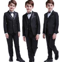 ingrosso vestito nero dei ragazzi 12-5 pezzi Toddler da neonato per bambini da cerimonia per la festa nuziale Tuxedo