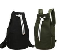 mochilas militares al por mayor-Casual Men Canvas Backpack Mochila de barril de gran capacidad Army Green String Drawstring Daypack para hombres Back Pack Mochilas Q179