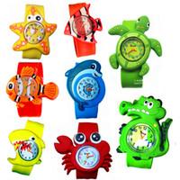 klapsuhren für kinder groihandel-3D Cartoon Kinder Jungen Mädchen Slap Snap On Silikon Meere Tierkrabben Cartoon Armbanduhr Kind