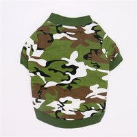 ingrosso scarpe da compagnia cane rosso-Army Green Dog Clothes for Small Dog Camo Clothing Summer Hoody Doggy Camouflage Coat T-shirt Honden Kleding Dog Clothes