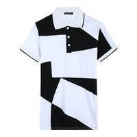 camisa polca branca camisa homens venda por atacado-Camisa Curta Verão Camisas Dos Homens Preto Branco Geométrica Impresso Designer Slim Fit Camisas Dos Homens Desgaste do Verão