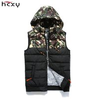 Wholesale Casual Male Camouflage Vest - 2017Fashion Men's Camouflage stitching Vest Winter Men Brand Hooded Vest Male Fashion Waistcoat Jacket and Coat Warm