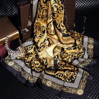Wholesale gold color print scarves for sale - Group buy Fashion Famous Style Silk Scarves of Woman Elegant Solid Color Gold Black Neck Print Soft Fashion Shawl Women Silk Scarf Square Men
