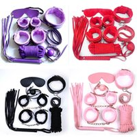 Wholesale bdsm tie resale online - 7Pcs Set PU Leather Sex Bondage Tying Erotic Toys For Adults Sex s Nipple Clamps Whip Mouth gag Sex mask Bdsm Bondage Y1893001