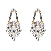 Wholesale glass flower chandeliers - tassel drop Earrings for women Luxury boho personality Glass drill Dangle earrings simple Vintage geometric fashion Jewelry wholesale 2018