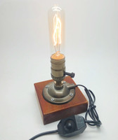 Wholesale industrial tables vintage - Industrial Retro Vintage Edison Table Lamp Knob Dimmer Double Switch E27 110V 220V Wood Desk Lamp With 40W Incandescent Bulb