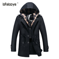 Wholesale Formal Hoodie - Wholesale- Free shipping 2016 male's fashion slim fit medium-long Men Winter warm thickening outerwear hoodie trench coat black size M-4XL