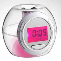 nachtlichtfarben großhandel-7 Farben Ändern Mode LCD Digital Wecker Hause LED Nachtlicht Snooze Timer Thermomether SN1695