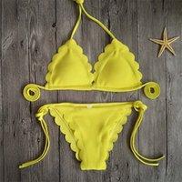 biquíni donna venda por atacado-Femme Biquíni Sexy Bandage Corda Mulher Swimsuit Lady Swimwear Mujer Traje Da Bagno Donna Lace Floral Two Piece Ternos 20dx V