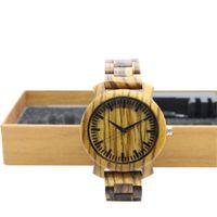 Wholesale custom logo watches online - TJW men s wooden watch fashion black wood strap wooden dial men s table custom logo
