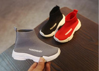 Wholesale fashion girl model dress for sale - Hot fashion retail Solid color children s socks shoes spring and autumn models trend casual boys and girls knitted shoes