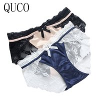 Wholesale Female Underpants - QUCO Brand 6pcs Top Quality 6 Color Sexy Female Underwear Women's Cotton Panties Lady Breathable Underpants Girls Briefs W14#01