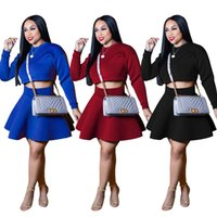 eafbb8333f0 2 Piece Dresses 2018 Women Fashion Winter Long Sleeve O Neck Crop Top and  Mini A Line Skirt Two Piece Skirt Set Sexy Club Outfits Plus Size