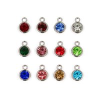 Wholesale Birthstone Colors - 12pcs Lot 12 Colors Birthstone Charms Floating Hang Charms Pendant Fit For Necklace Chain HC460 Free Shipping