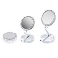 dobra da lâmpada venda por atacado-2019 New My Fold Away LED Maquiagem Espelho Dupla Face de Rotação Dobrável USB Iluminado Espelho de Vaidade Tela Sensível Ao Toque Da Lâmpada de Mesa Portátil