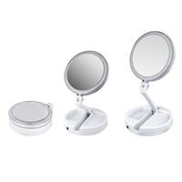 ayna aydınlatma toptan satış-2019 Yeni Benim Dışarıda Fold LED Makyaj Aynası Çift taraflı Rotasyon Katlanır USB Işıklı Vanity Ayna Dokunmatik Ekran Taşınabilir Masa Lambası