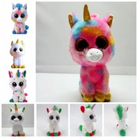Wholesale ty toys online - 6 design cm Ty Beanie Boos Unicorn Stuffed Animal Collectible Soft Big Eyes Doll Toys For Children Toy Doll KKA5806