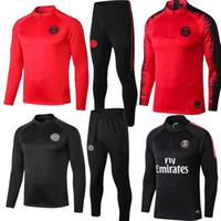 conjuntos de futebol preto venda por atacado-New MBAPPE PSG jaqueta de treino de futebol vermelho preto 18 19 thia qualidade LUCAS branco completo Jaqueta de treino de Futebol define 2019