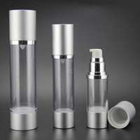Wholesale aluminum airless cosmetic bottles wholesale - 30ML Refillable Airless Lotion Pump Bottle With Silver Pump, Aluminum Over Cap vacuum cosmetic containers LX2267