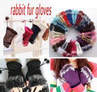 rabbit fur gloves Fashion winter warm girl leather rabbit hand warm winter winter fingerless gloves