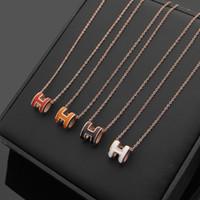 collar de turquesa abalone al por mayor-2018 Diseñador 316L colgante de acero de titanio collar de serpiente con forma de esmalte H en muchos colores joyería de 47 cm de longitud envío gratis
