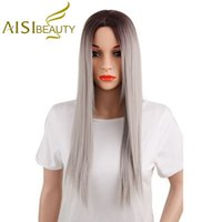 Wholesale 26 Inch Straight Wigs - Aisi Beauty 26 Inch Long Straight Ombre Grey Hair Wigs Cheap Heat Resistant Synthetic Fiber Wigs