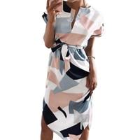 bonito joelho comprimento verão vestidos venda por atacado-Vestido de verão Mulheres Moda Impressão Elegante Faixas bonitos Com Decote Em V Na Altura Do Joelho-Comprimento 2018 Sexy Magro Bainha Vestido Mulheres Vestidos Vestidos