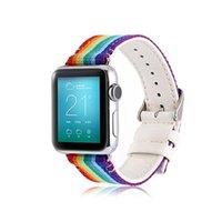 kumaş saat kayışları toptan satış-Hakiki Deri Kumaş Naylon Watch Band Spor Sapanlar Apple Ürünü için iWatch Serisi 4/3/2/1 38 / 40mm 42/44 MM