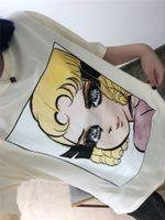 Wholesale anime girl big for sale - Anime Action Figure Pattern Printing T shirt Women Crew Neck Brand Logo Loose Girl Tees Long Sequins Big Eye Beauty Fairy Design T SHirt