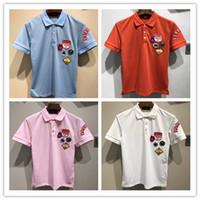 mädchen kollidierte großhandel-neue Mode Männer Marke d2 Polo T-Shirt Stickerei Schlange Kragen klassischen T-Shirt Kurzarm-T-Shirt G Striped Liebhaber Mädchen Frauen Männer Top Tee