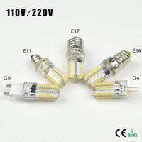 ingrosso ba15d ha condotto la lampadina-10 pz Silicone Dimmerabile G9 G4 E11 E12 E14 E17 LED Lampadine sostituire 40w lampada alogena AC 110 V / 220 V 64 LEDs Clear Corn Lampadina