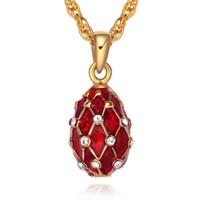 Wholesale Faberge Crystal Eggs - Mini Size Enamel Handmade Jewelry Brass Faberge Egg Pendant Crystal Rhinestone Necklace Gift To Women girls
