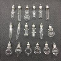 vial mm al por mayor-50 unids / lote forma mixta de vidrio Vial Colgante 5 mm tapa de metal tapón de goma mini encanto botella de arroz viales en miniatura Vial colgantes conjunto