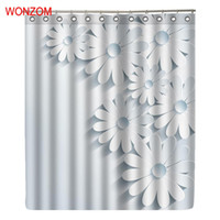 Wholesale modern white shower curtain for sale - Group buy WONZOM White Flower Shower Bathroom Waterproof Accessories Curtains For Decor Modern Elegant Flower Bath Curtain with Hooks