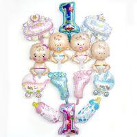 ayaklı modeller toptan satış-Mini Karikatür Bebek Biberon Ayak Balonlar Güzel Modelleme Alüminyum Film Balon Festivali Parti Malzemeleri Toptan 0 6kz gg