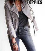 Wholesale Gray Suede Jacket - 2017 Spring & Autumn Women Suede Gray Jacket Zipper Moto Leather Jacket Women Suede Leather Coat High Street Fashion JT003